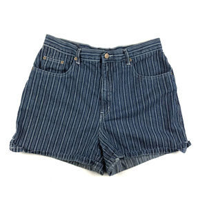 Vintage Halston Striped Railroad Denim Mom Shorts